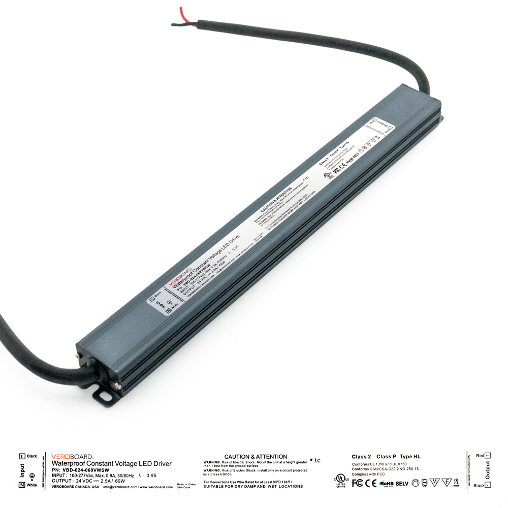 VEROBOARD Super Slim 24V 2.5A 60W Non-Dimmable LED Driver