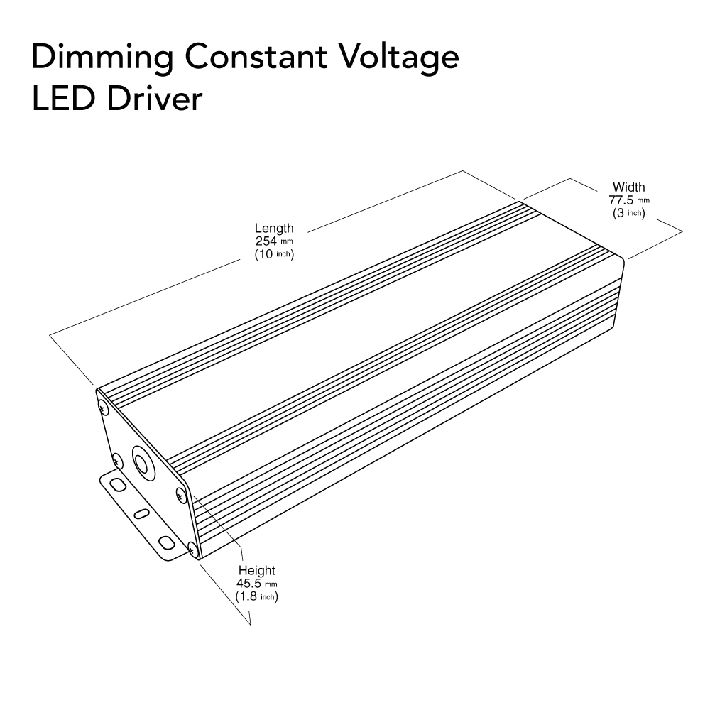 VEROBOARD 12V 180W (3*60W) Triac/0-10V Dimmable LED Driver Dimensions