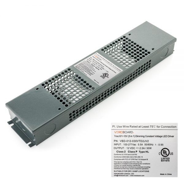 VEROBOARD 12V 30W Triac /0-10V Dimmable LED Driver (Multi Dimming+Junction Box)