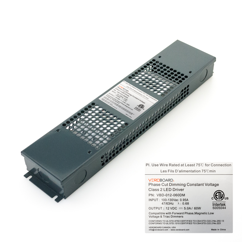 VEROBOARD 12V 5A 60W Dimmable LED Driver VBD-012-060DM