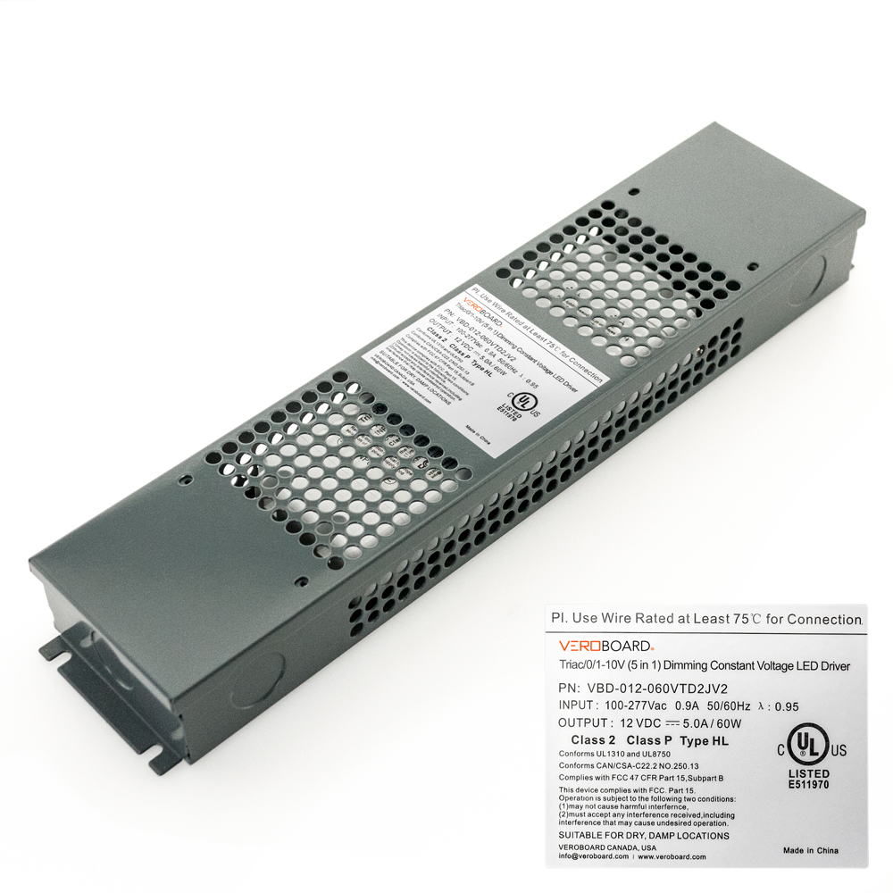 VEROBOARD 12V 60W Triac/ 0-10V Dimmable LED Driver (Multi Dimming+Junction Box)