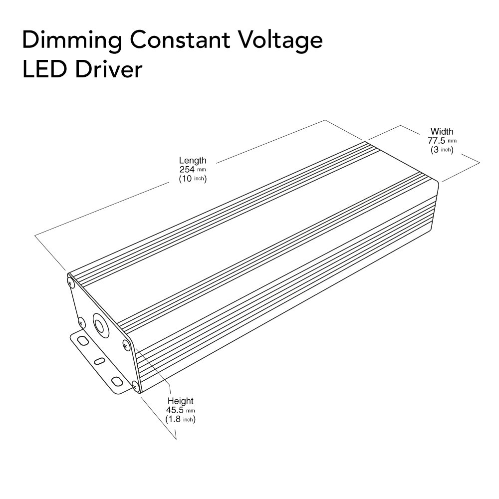 VEROBOARD 24V 12.5A 300W Dimmable LED Driver VBD-024-300VTHWJ Dimensions