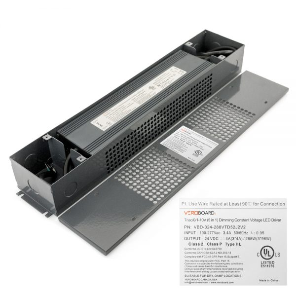 VEROBOARD 24V 288W(3*96W) Triac/ 0-10V Dimmable LED Driver (Multi Dimming +Junction Box)