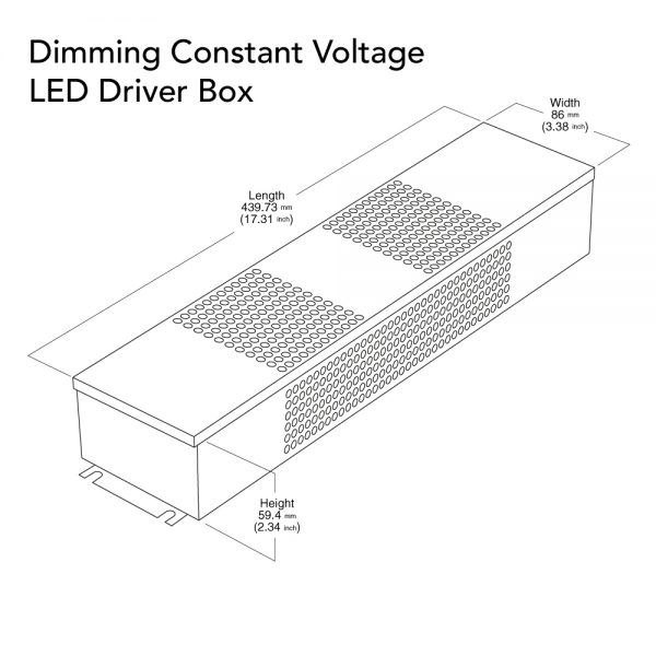 VEROBOARD 24V 288W(3*96W) Triac/ 0-10V Dimmable LED Driver Junction Box Dimensions