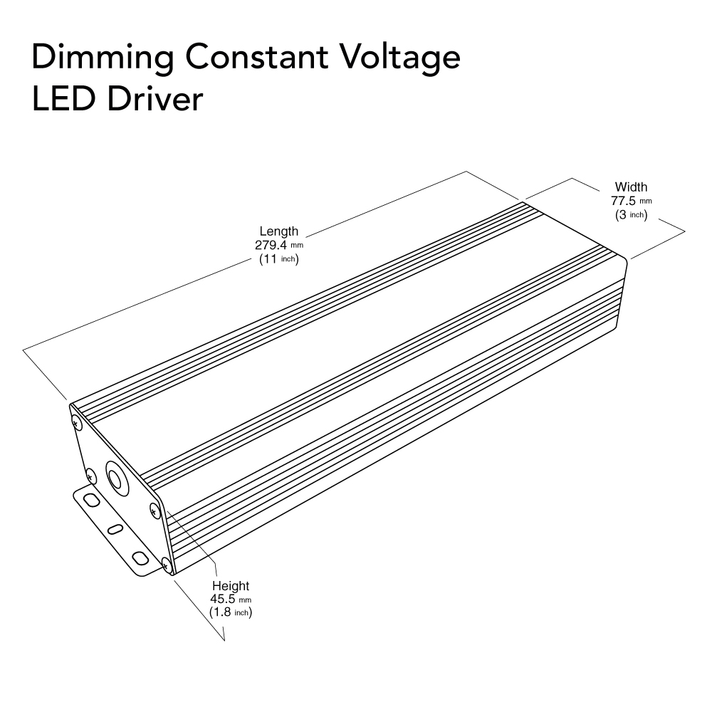 VEROBOARD 24V 288W(3*96W) Triac/ 0-10V Dimmable LED Driver Dimensions