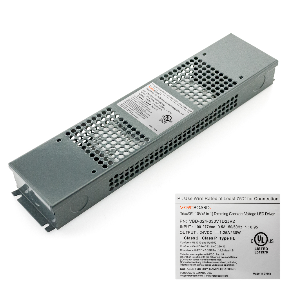 VEROBOARD 24V 30W Triac/0-10V Dimmable LED Driver (Multi Dimming+Junction Box)