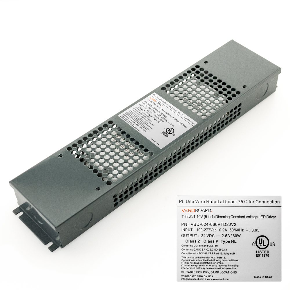 VEROBOARD 24V 60W Triac/0-10V Dimmable LED Driver (Multi Dimming +Junction Box)