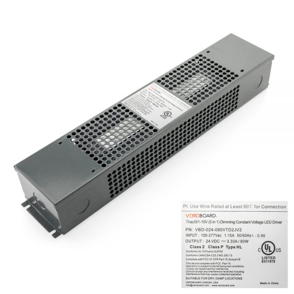 VEROBOARD 24V 80W Triac/0-10V Dimmable LED Driver (Multi Dimming+Junction Box