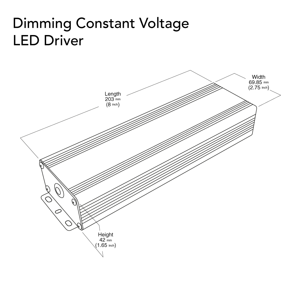 VEROBOARD 24V 80W Triac/0-10V Dimmable LED Driver Dimensions