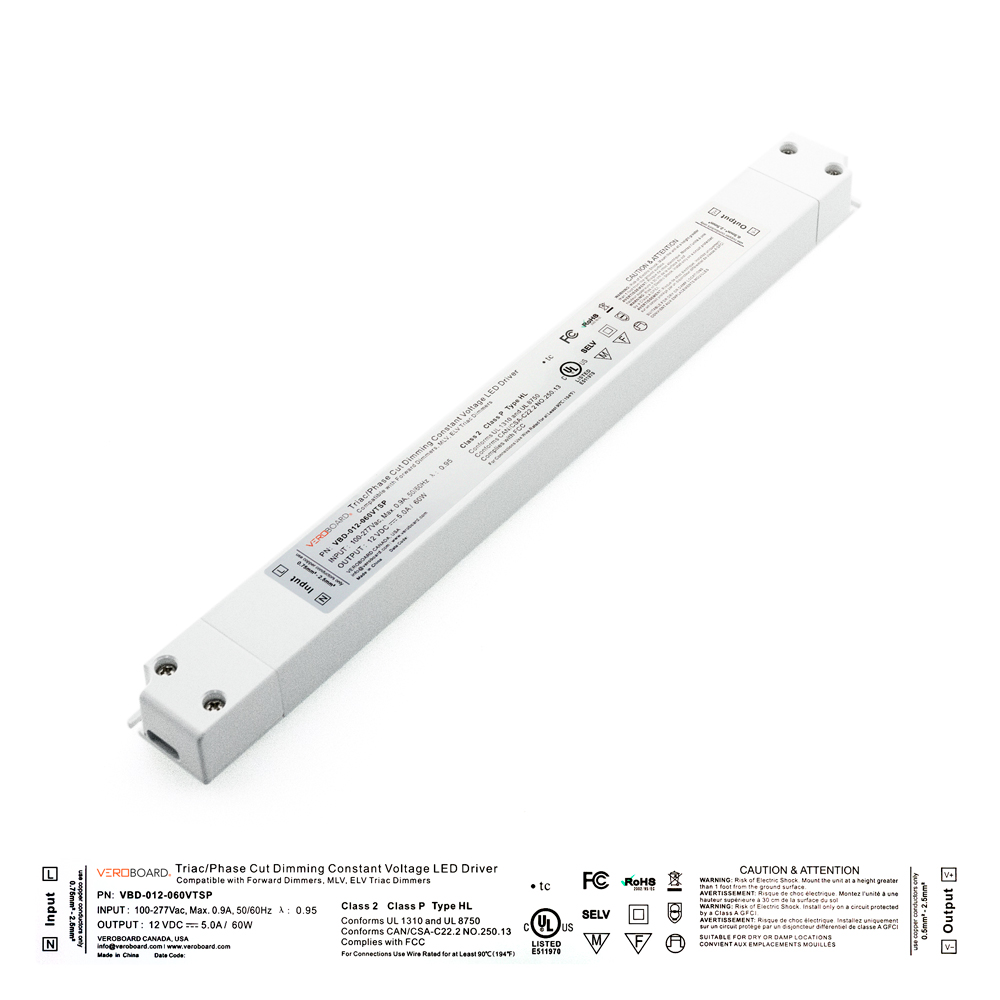 VEROBOARD Super Slim 12V 5A 60W Dimmable LED Driver