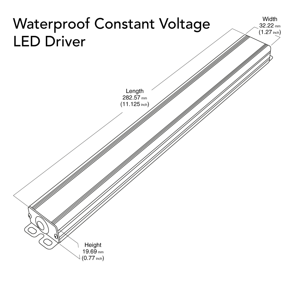 VEROBOARD Super Slim 12V 5A 60W Non-Dimmable LED Driver Dimensions