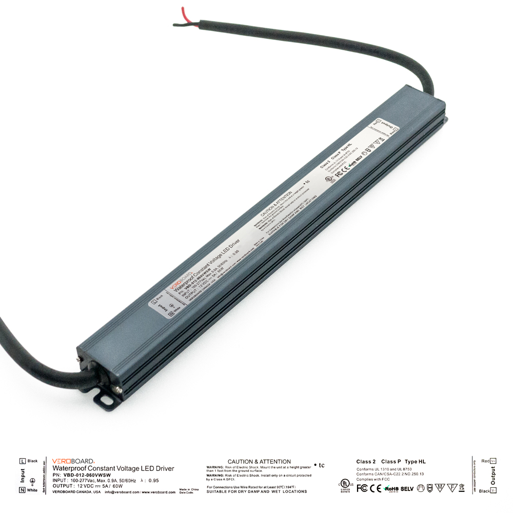 VEROBOARD Super Slim 12V 5A 60W Non-Dimmable LED Driver