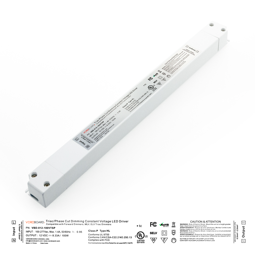 VEROBOARD Super Slim 12V 8.33A 100W Dimmable LED Driver