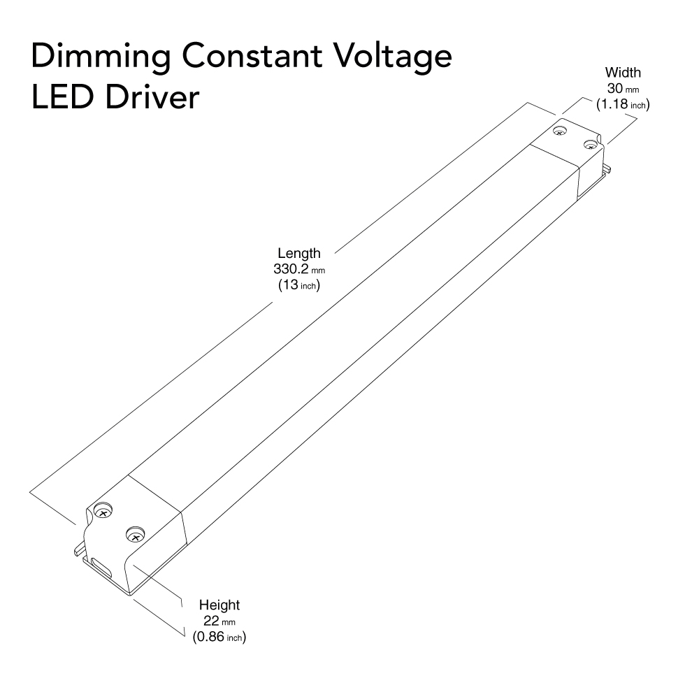VEROBOARD Super Slim 12V 8.33A 100W Dimmable LED Driver Dimensions