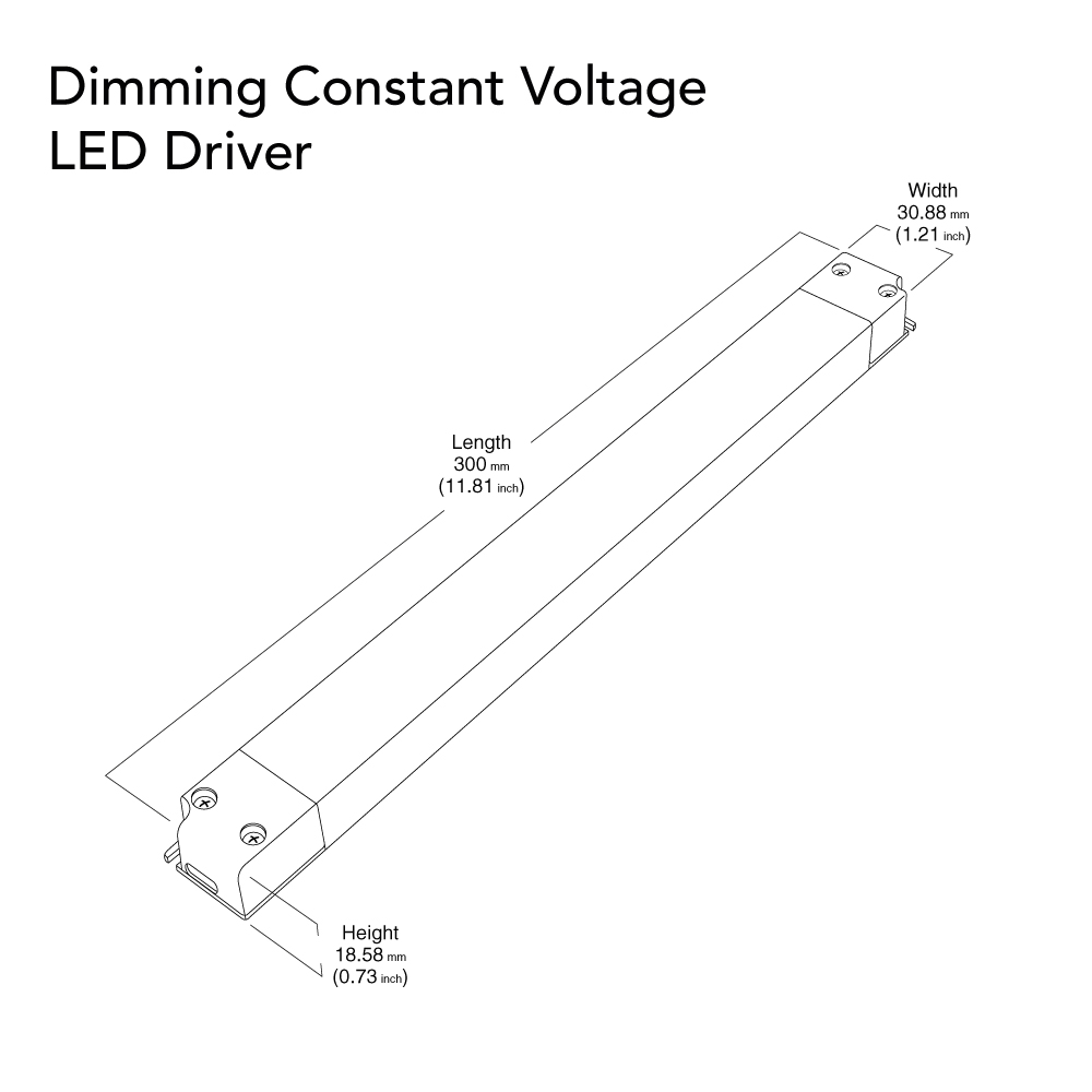 VEROBOARD Super Slim 24V 2.5A 60W Dimmable LED Driver Dimensions
