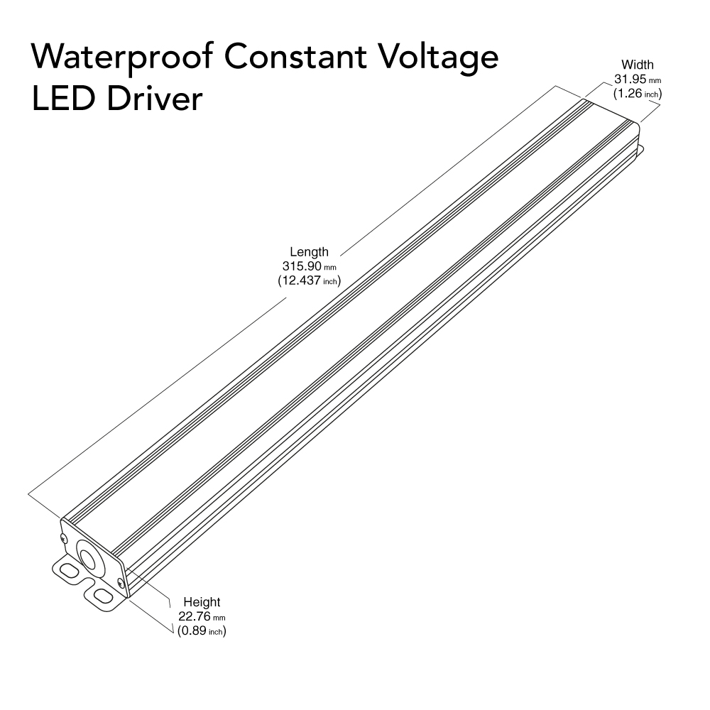 VEROBOARD Super Slim 24V 4A 96W Non-Dimmable LED Driver Dimensions