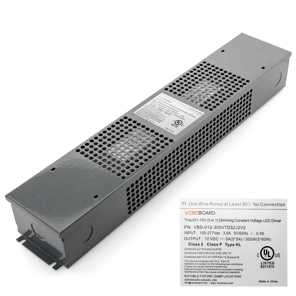 VEROBOARD 12V 300W (5*60W) Triac/ 0-10V Dimmable LED Driver(multi Dimming +Junction Box)