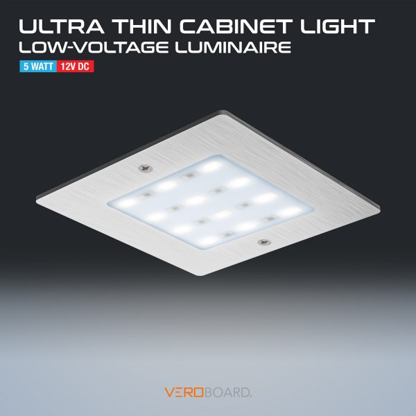 5W LED Square Ultrathin Cabinet Puck Light Silver Grey