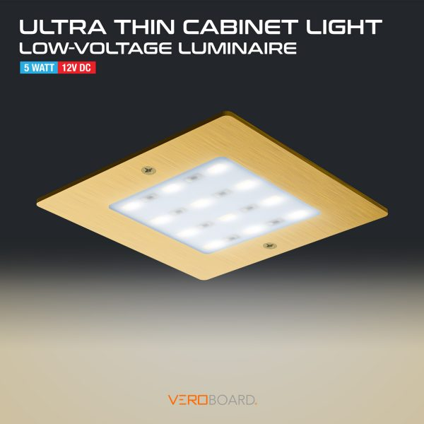 5W LED Square Ultrathin Cabinet Puck Light Gold